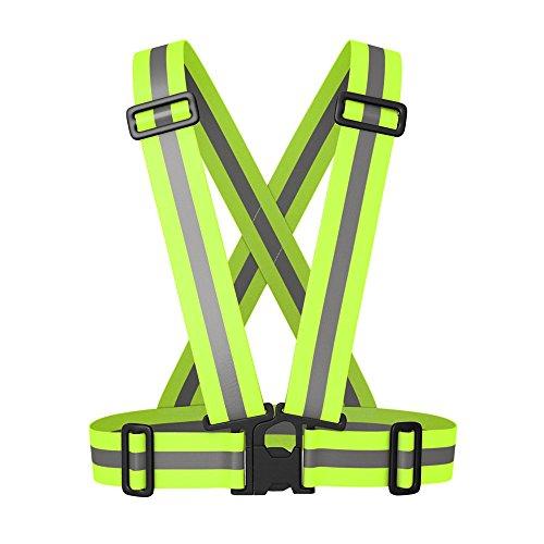 EnjoySports Verstellbare reflektierende Weste Laufbekleidung Sicherheits-Taillengürtel Streifen Jacke Hohe Sichtbarkeit Arbeitskleidung, Neon-Grün