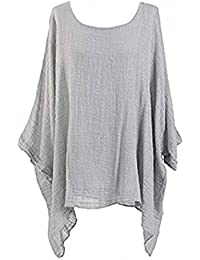Womens Cheese Cloth Loose Fit Batwing Holidays Beach Cotton Kimono Sleeve  Baggy Top Casual T-Shirt Summer Insert Vest Tops Plus Size UK… 3df8992961c3