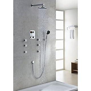 AcGoSp Moderne Duscharmatur mit Thermostat, verchromt, LED-Display (20.32 cm rund Duschkopf, Handbrause