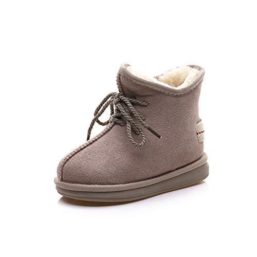 Qianliuk Kinder Winter Schnee Stiefel Warme Plüsch Mode Schwarz Beige Leder Stiefeletten für Mädchen Jungen Casual Schneeschuhe (Hunter Stiefel Kleinkind)