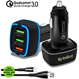 SpinBot ChargeUp 3 Ports 30W Quick Charge 3.0 Fast Car Charger + Braided Micro USB Cable (Black)