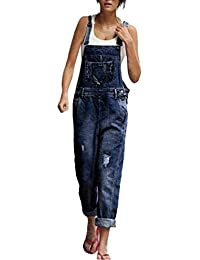 e460b32420e Adelina Women s Jeans Fashion Dungarees Ripped Front Loose Trouser Slim Fit  Pockets Jeans Pants Casual Trouser