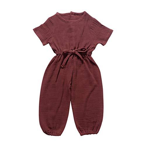 Alwayswin Baby Kurzarm Hosen Strampler Sommer Einfarbig Spielanzug Mode Bequem Babykleidung Atmungsaktiv Cool Overall Kleidung Baumwolle und Leinen Jumpsuit Freizeit Spitze Romper
