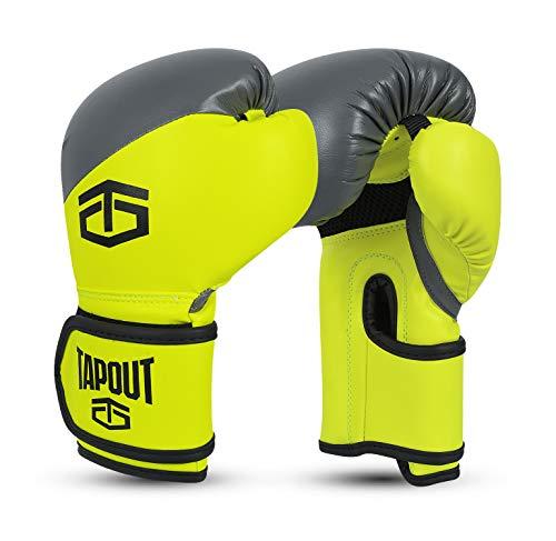 Tapout Atomic Boxhandschuhe aus Dura-Leder für Kinder und Erwachsene Größe 4 Unzen - 16 Unzen ** freie Handwickel ** (Kalk/Grau, 6 oz)