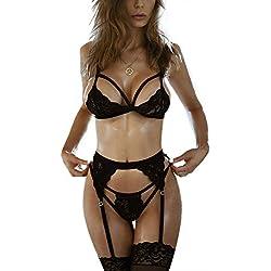 FeelinGirl Mujer Ropa Íntima Sexy de Encaje Conjuntos con Sujetador Liguero y Tanga Negro M