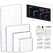 Acrylic Stamp Blocks Set of 5, Acrylic Blocks for Stamps with Grid Lines and 1 Sheet Clear Silicone Calendar P