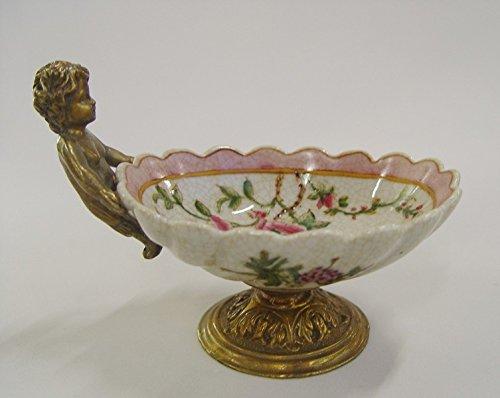 Decobay.eu Seifenschale Porzellan Schale Gebäckschale Konfketschale Bronze Engel Putte Fuß (Porzellan Bronze)