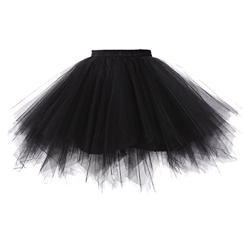 e Elastisch Puffy Tüll Tütü Röcke Petticoat Ballett Blase Ballkleid Mehrfarbengroß Unterröcke Schwarz ()