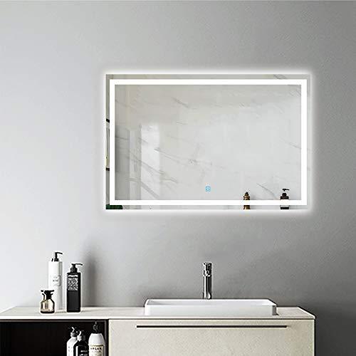 AicaSanitär Badspiegel mit Beleuchtung 80×60 cm Touch, BESCHLAGFREI, Sonne Serie Wandspiegel