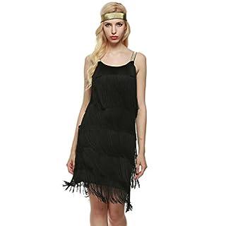 AIMADO Damen charleston kleid mit stirnband 1920er Flapper Kleid fransenkleid Knielang Abendkleid, Schwarz, EU 38(Herstellergröße L)