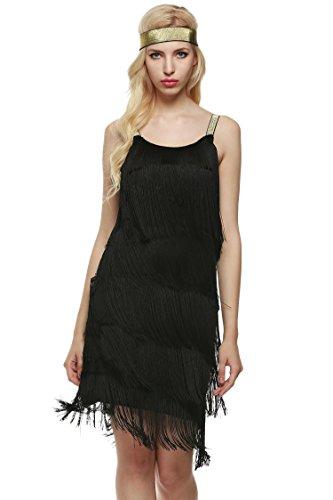 AIMADO Damen charleston kleid mit stirnband 1920er Flapper Kleid fransenkleid Knielang Abendkleid, Schwarz, EU 40 (Herstellergröße XL)