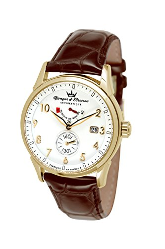 Yonger & Bresson Versailles Men's Automatic Watch with White Dial Analogue Display and Leather Brown - YBH 8341-03
