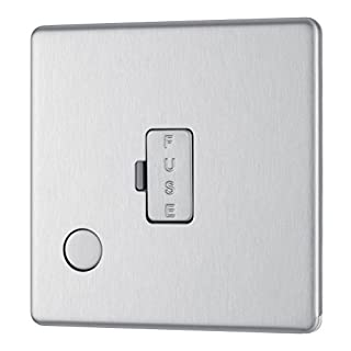 BG Electrical FBS55 13 A Screw less Flat Plate Unswitched Fused Connection Unit Flex Outlet, 250 V, Brushed Steel