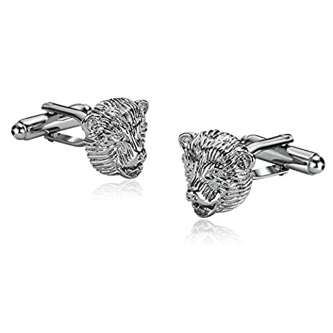 Epinki Stainless Steel Cuff Links for Mens Bear Head Pair of Silver for Men Shirt