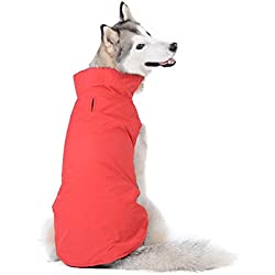 Bwiv Cappotto Invernale per Cani Grandi Giubbotto Impermeabile Foderato in Pile con Apertura per guinzaglio Rosso 5XL