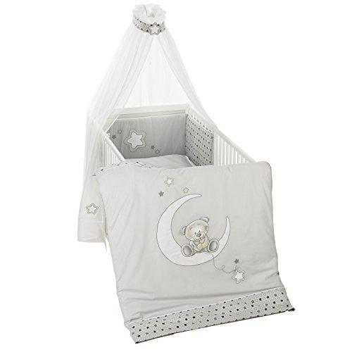 Alvi Bettset - Himmelset für Kinderbett Stern und Sternchen grau-beige 898-9