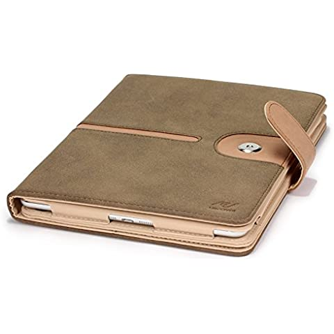URCOVER® Case Smart Cover Protettiva | Custodia Libro Apple iPad Air 2 | Rivestimento Microfibra e Ecopelle Scamosciata in Marrone | Funzione Sleep-Wake Leggio Richiudibile Elegante Business