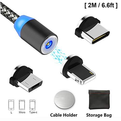 Magnetisches USB-Ladekabel Micro-USB Typ C Beleuchtung mit LED, Multi 3-in-1 Kabel Ladegerät für Android Handy, mehrere Ladeadapter. Schnellladung Kyerivs (1-Schwarz, 2 m) (Magnetische Handy-ladegerät)