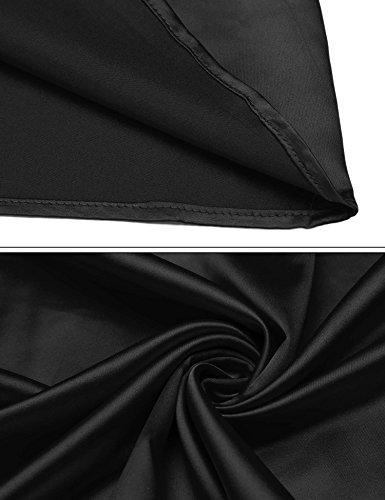 Ekouaer Damen Nachthemd Sleepwear Satin Kurz Sexy Ärmellos V-Ausschnitt Nachtkleid Nachtwäsche Verstellbare Träger Sleepshirt Schwarz