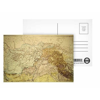 Map of Afghanistan, 1898 (colour engraving).. - Postcard (Pack of 8) - 6x4 inch - Art247 Highest Quality - Standard Size - Pack Of 8