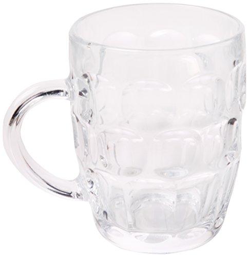 Boccali tradizionali in vetro da 500 ml (1 pinta) ce – set di 4   conosciuto anche come boccale con motivo a fossette, bicchiere da birra britannia, boccale da birra, bicchiere da birra