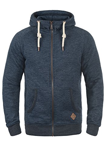 !Solid Vitu Herren Sweatjacke Kapuzenjacke Hoodie mit Kapuze und Reißverschluss aus 100% Baumwolle, Größe:M, Farbe:Insignia Blue Melange (8991) Solid Zip-design
