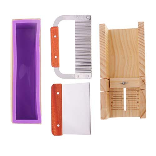 Baoblaze Seifenherstellung Seifen Silikonform rechteck Seifenform mit Holzbox und Schneider Form -
