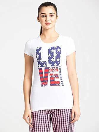 Jockey Women's Regular fit T-Shirt (UL02_ White Large)