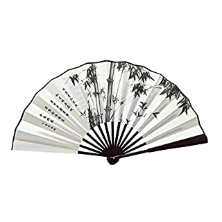 Angren Lei 10' Big Bamboo Hand Fan Chinese Fan Painting Mens Silk Folding Fans for Weddings Home Decoration Crafts