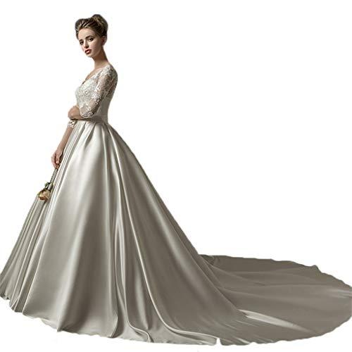 Hochzeitskleid V-Ausschnitt Satin einfache, schlanke Braut europäischen und amerikanischen Gericht...