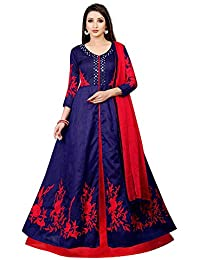 Globalia Creation Bangalore Silk Salwar Suits For Women Gown Style (Blue,Red)