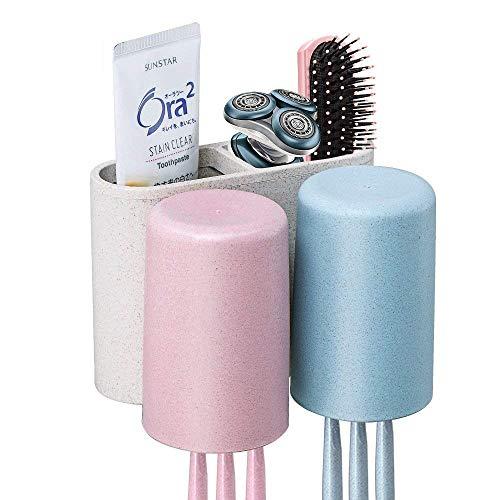 Soporte para cepillos de dientes montado en la pared trigo paja fabricada en material libre de polvo limpia con un dispensador de pasta de dientes automático