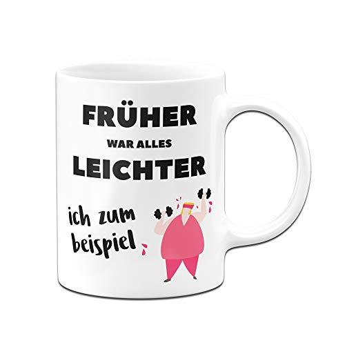 Tassenbrennerei Tasse mit Spruch Früher war Alles Leichter. Ich zum Beispiel. Bürotasse Tassen mit Sprüchen lustig (Weiß/Rosa)
