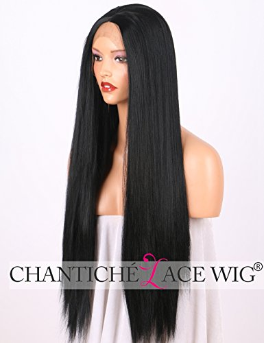 (Chantiche Beste Yaki glatte schwarze Lace-Perücke Lange synthetische Haare Borte vordere Perücke für Damen halb handgebunden 24 Inches)