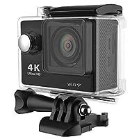كاميرا تصوير اكشن الترا اتش دي بدقة 4 كيه 1080 بكسل لاسلكية مع تكبير 30 مرة ودرجة صلابة بمقدار اتش 9، كاميرا فيديو دي في - اسود