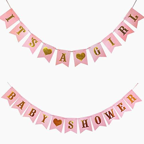 Beito Baby-Licht Pink Gold Foiled Letter Melden Es ist ein Mädchen Bunting Banner Erstkommunion Partei Garland Photo Booth Requisiten Dekoration-Girl