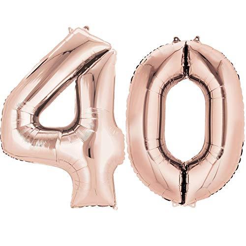 Ouinne Globo 40 Años, Globo del Cumpleaños Número 40 Helio Globos para La Decoración Boda Aniversario, 40 Pulgadas (Oro rosa)