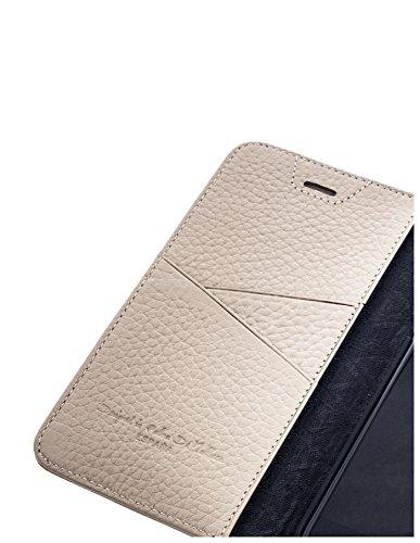 QIOTTI >              Apple iPhone 5 / 5S / SE              < incl. PANZERGLAS H9 HD+ Geschenbox Booklet Wallet Case Hülle Premium Tasche aus echtem Kalbsleder mit KARTENFÄCHER und STANDFUNKTION. Edel verpackt incl. Stoffbeute BEIGE