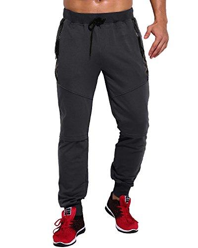 Polyester Herren Hosen (MODCHOK Herren Jogging Hose Sweatpants Trainninghose Knie Reißverschluss Freizeit(Schwarz 2 , M ) )