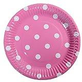 Meowoo Piatti Carta paper plates Piatti Di Carta Monouso per cena,partito,caramella,torta,frutta,ideale per piatti caldi e freddi - 100pezzo,18cm, punto(Rosa)