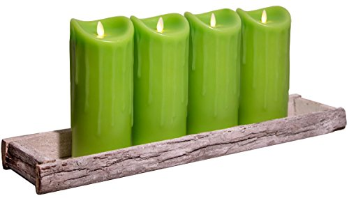 Dekoschale Holz Tablett 59x14cm inkl. 4 LED Kerzen 23cm Grün bewegte Flamme Timer Kerzentablett Shabby Chic Landhaus