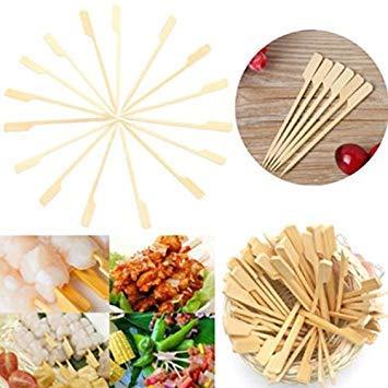 PLAT FIRM-GRAINES VDK 100Pcs 12cm Plat Bambou Brochettes Sticks BBQ Pique-Nique en Bois Kebab Viande Fruit Fontaine Buffet