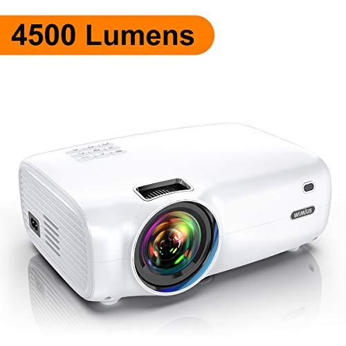"Proyector, WiMiUS 4500 lúmenes Proyector Portátil Full HD Soporta 1080P Proyector Cine en casa 720P Nativo con Audio Hi-Fi Pantalla 200 "" Mini Video Proyector LED 60000 Horas HDMI/VGA/AV/ TF/USB"