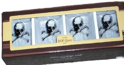 Skull Crossbones DOF Double Old Fashion Glasses 12 oz by TMD Holding 12 Oz Double Old Fashion