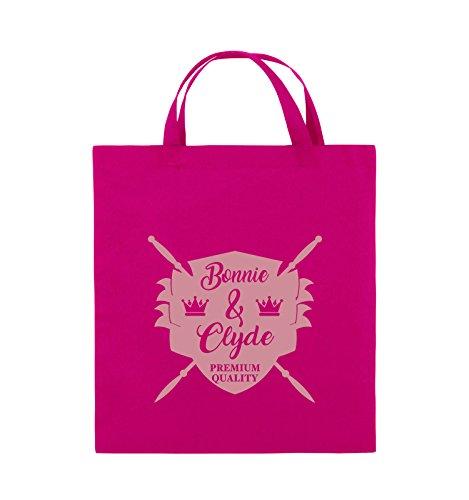 Comedy Bags - Bonnie & Clyde RITTER - MOTIV - Jutebeutel - kurze Henkel - 38x42cm - Farbe: Schwarz / Silber Pink / Rosa