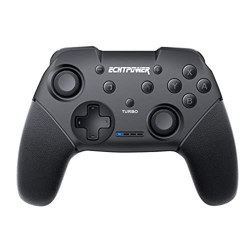 ECHTPower Nintendo Switch Controller, Kabelloser Bluetooth Switch Controller, Wireless Gamepad Joystick mit Wiederaufladbarer Akku, DualShock und Turbo Funktionen 6-Achsen Gyroskop für Nintendo Switch