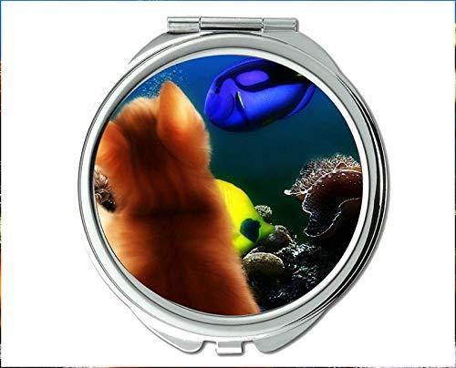 Yanteng Spiegel, Kompaktspiegel, Betafischmotiv des Taschenspiegels, tragbarer Spiegel 1 X 2X Vergrößerung - Cabrio Herz