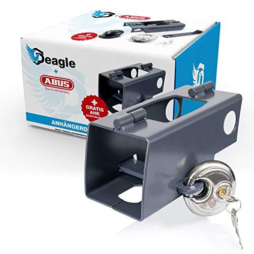 Deagle Anhängerschloss - inkl. ABUS Diskus und Gratis AHK Schutzkappe - optimaler Schutz im angekuppelten und abgekuppelten Zustand für Ihren Anhänger