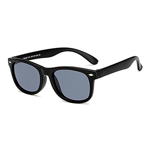Long Keeper Kinder polarisierte klassische Retro Sonnenbrille für Baby, Kleinkind, Kinder, Jungen und Mädchen (Schwarz)