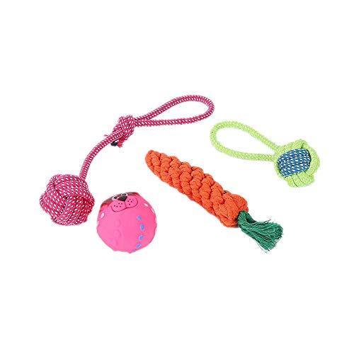 JKRTR Haustier-Hunde,Interaktion Spielzeug,Haustier, das molare Baumwollseilspielzeugkombination spinnt(Bunt-9,Freie Größe)